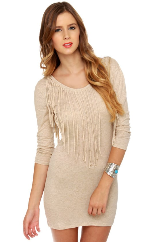 RVCA Marquee Moon Beige Fringe Dress