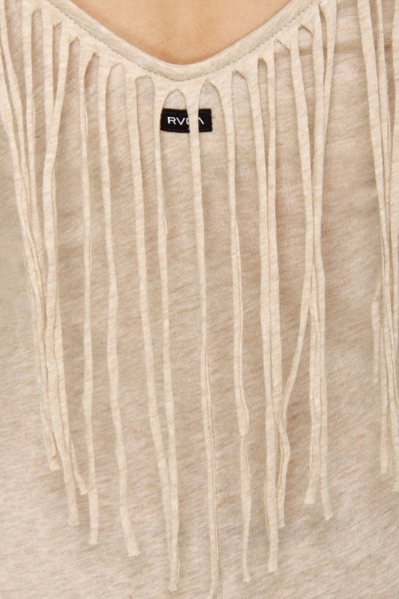 RVCA Marquee Moon Beige Fringe Dress