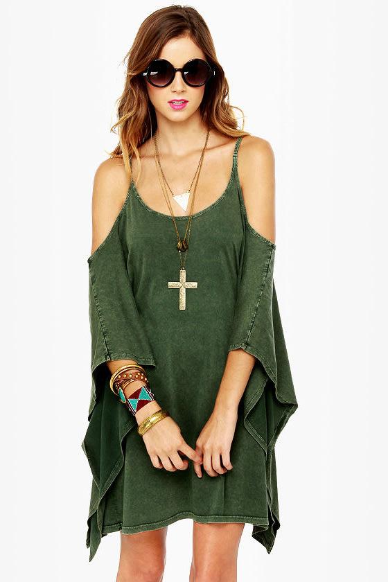 RVCA At Last Dark Green Dress