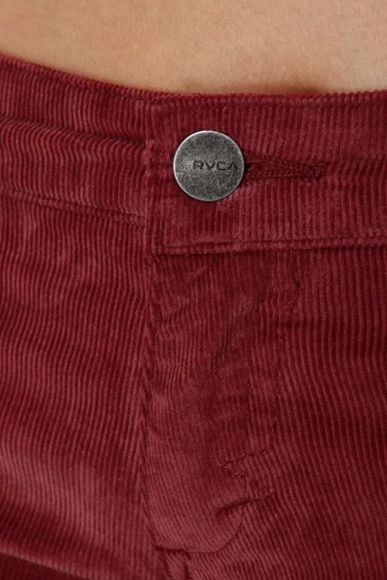 RVCA Life & Times Burgundy Corduroy Skinny Pants at Lulus.com!