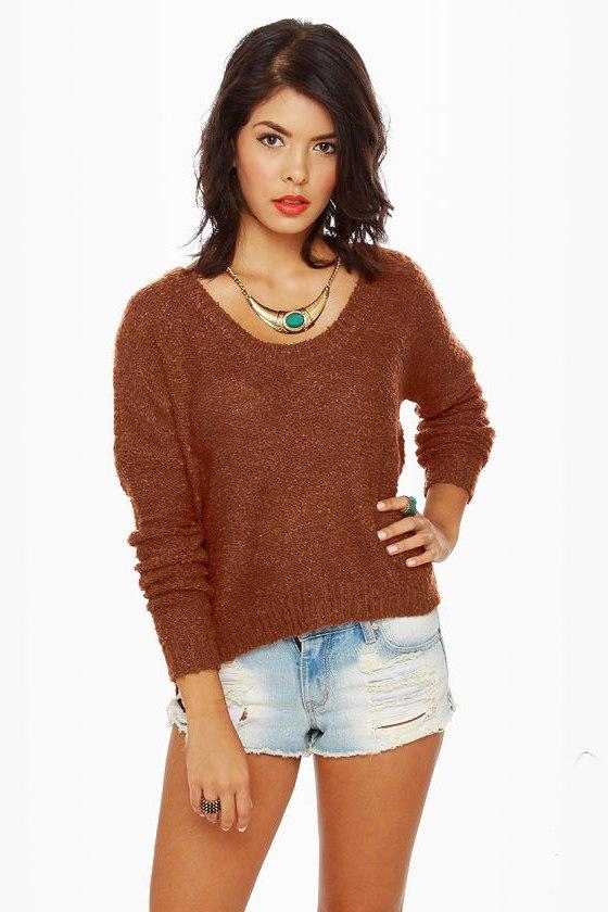 Cute Orange Sweater - Burnt Orange Sweater - $66.00