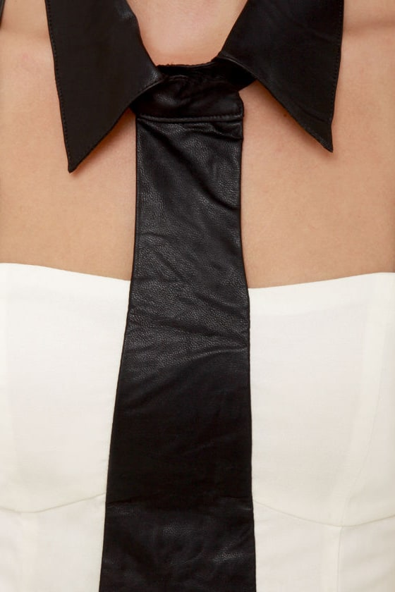 Collar Guard Black and Ivory Dress at Lulus.com!