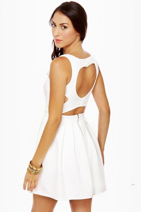 Adorable Cutout Dress - White Dress - Skater Dress - $47.00