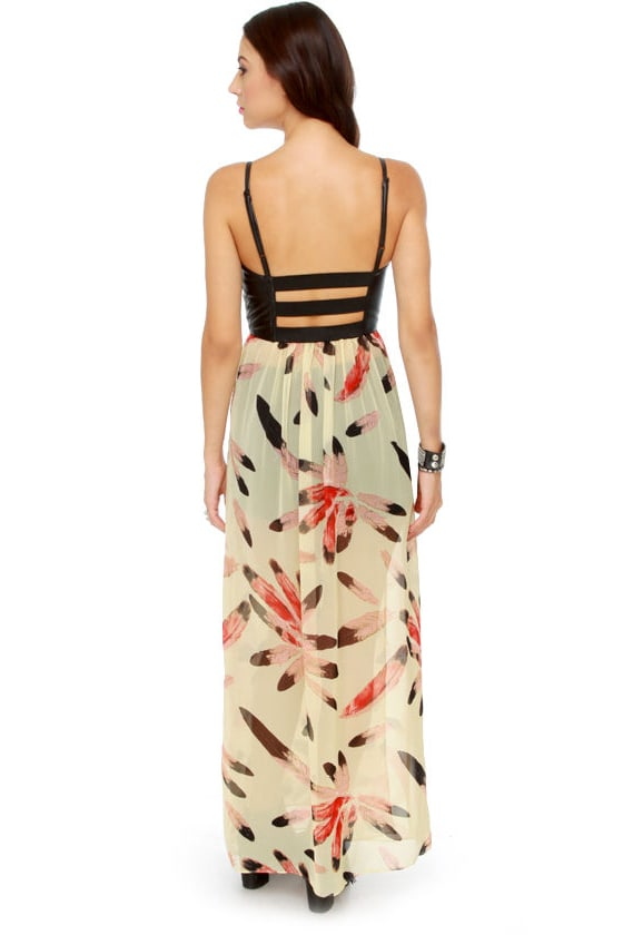 Bad to the Bustier Feather Print Maxi Dress