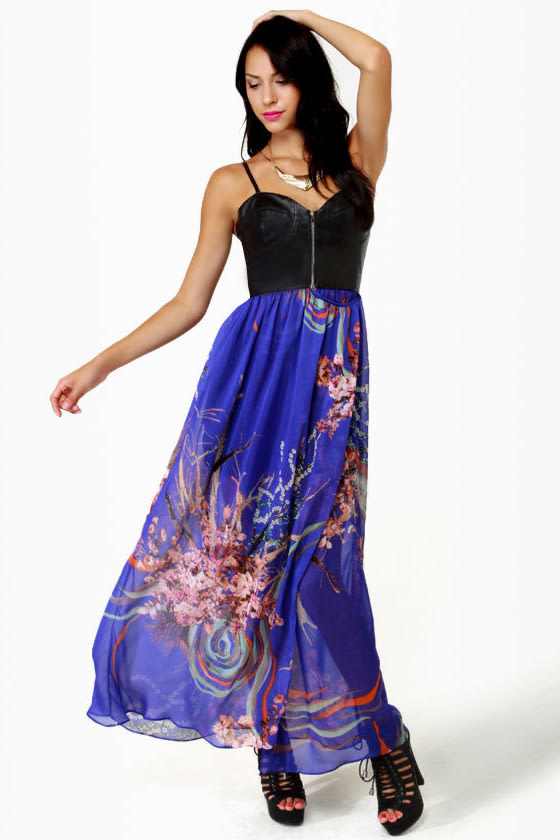 Bad to the Bustier Blue Floral Print Maxi Dress