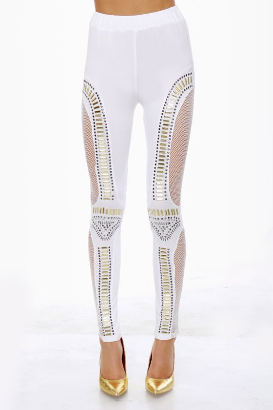 Did I Stud-her? Studded White Leggings at Lulus.com!