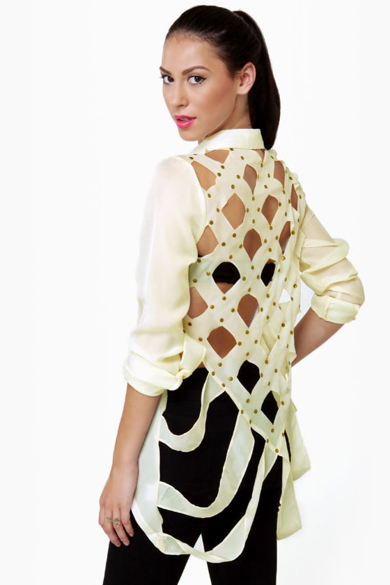 Lattice Hurrah Ivory Backless Top