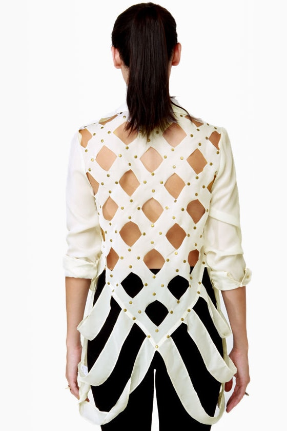 Lattice Hurrah Ivory Backless Top at Lulus.com!