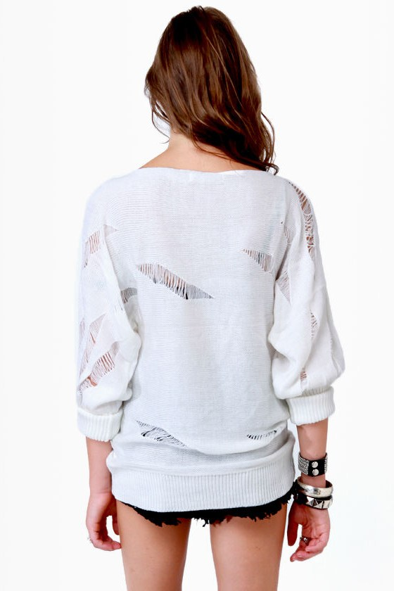 Crossbones Beaded Ivory Sweater
