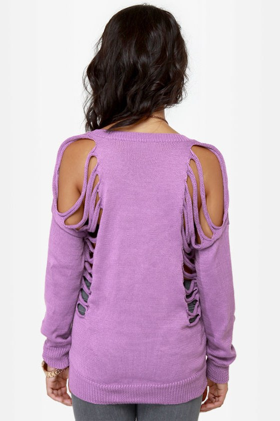 Need to Vent Cutout Lavender Sweater