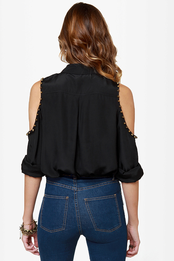 Mag-neato Black Button-Up Studded Top