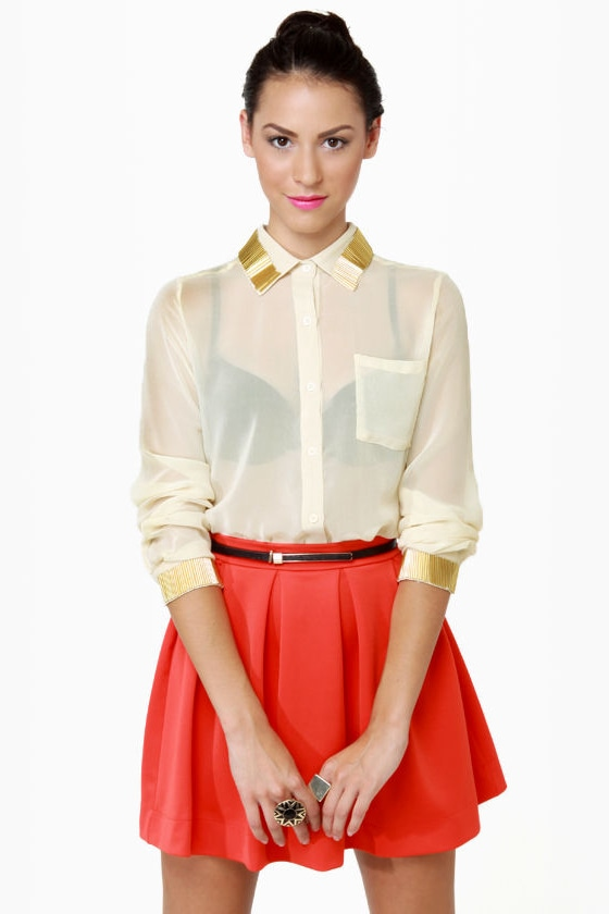 Bead-sy Bee Sheer Cream Button-Up Top at Lulus.com!
