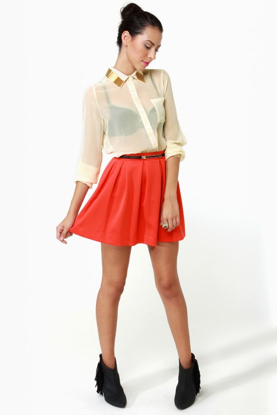 Bead-sy Bee Sheer Cream Button-Up Top