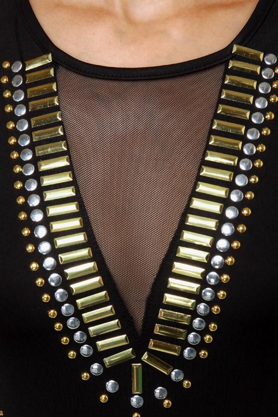 Stud-y Abroad Studded Black Bodysuit