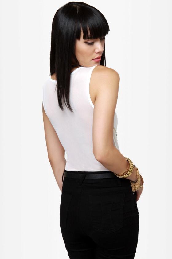 Stud-y Abroad Studded White Bodysuit