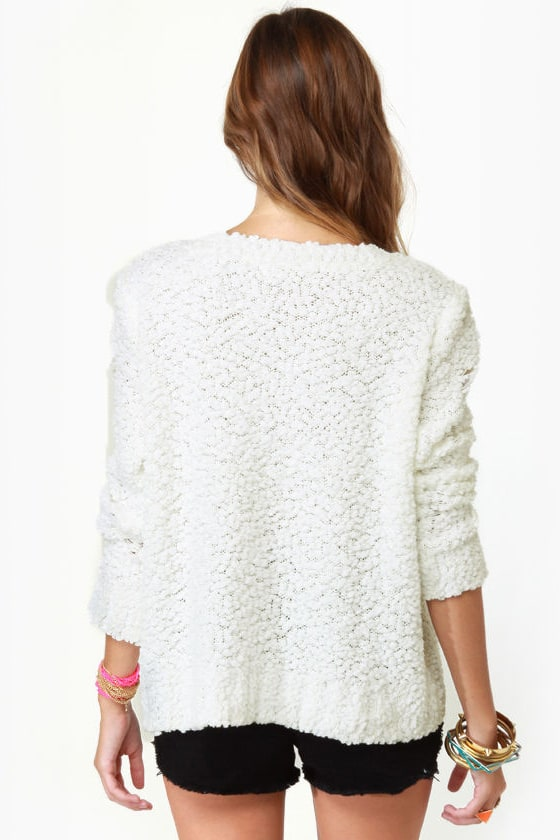 Playing it Jeweled Ivory Sweater at Lulus.com!