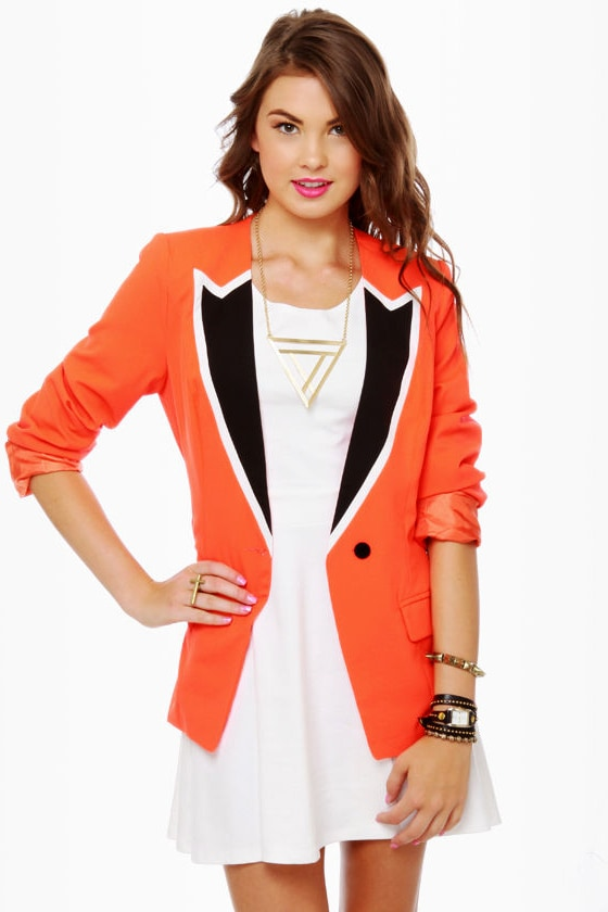 Hearts Ablaze Coral Orange Blazer at Lulus.com!