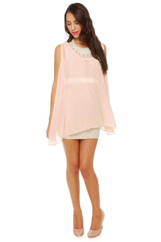 All Dolled Up Blush Pink Sheer Mini Dress