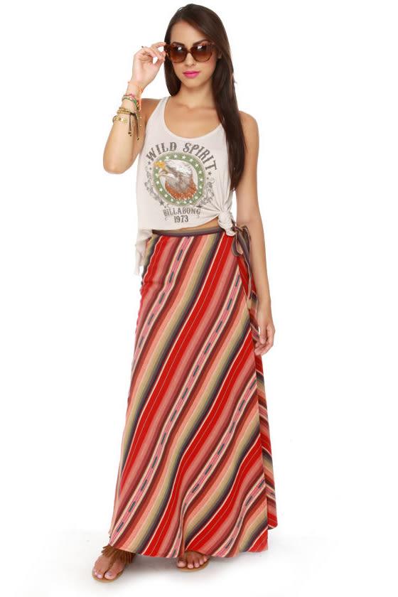 Roxy Mellow Mystique Skirt - Maxi Skirt - Red Skirt - Wraparound ...
