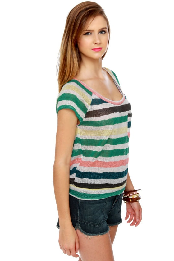 Roxy Cliff Rock Sheer Striped Top at Lulus.com!