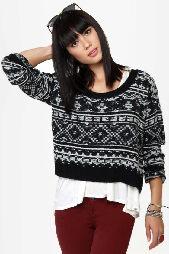 Roxy Elm Black Knit Sweater