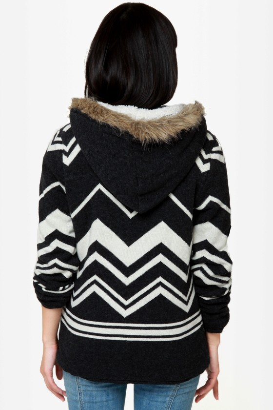 Roxy Cherry Valley Black and Ivory Hooded Sweater