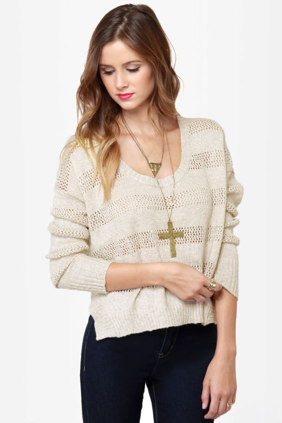 Roxy Rochester Beige Cropped Sweater