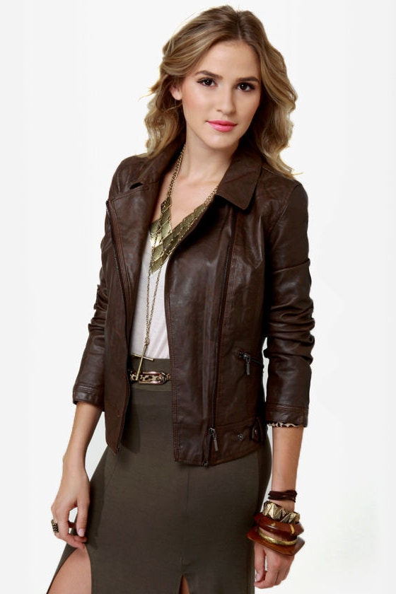 Hot Chocolate Brown Vegan Leather Jacket at Lulus.com!