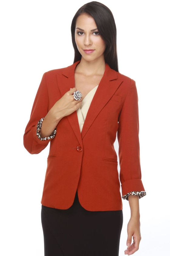 Classy Burnt Orange Blazer - Orange Jacket - Women's Blazer - $52.00