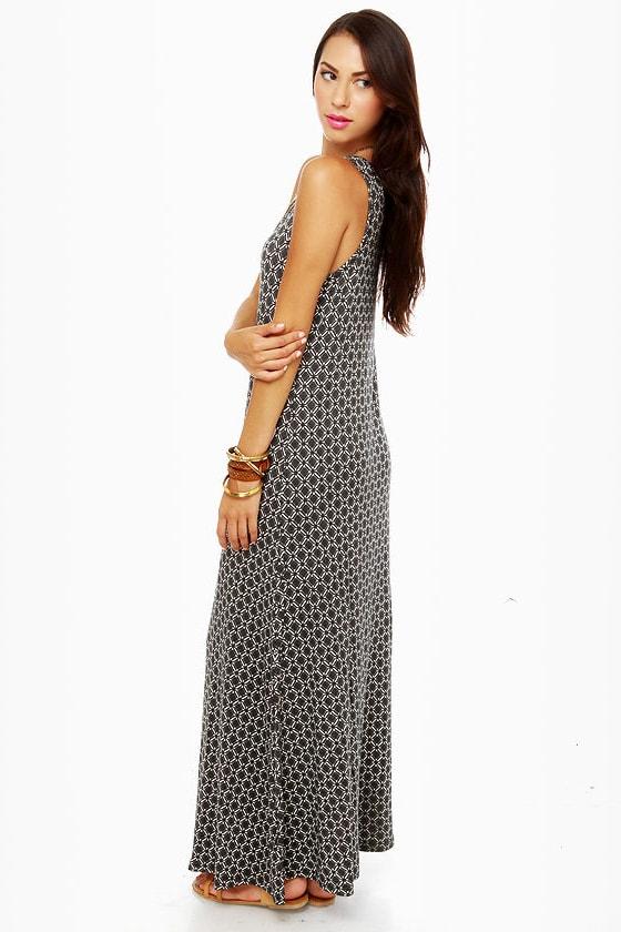 Moroccan and Rollin\\\\\\\' Black Print Maxi Dress