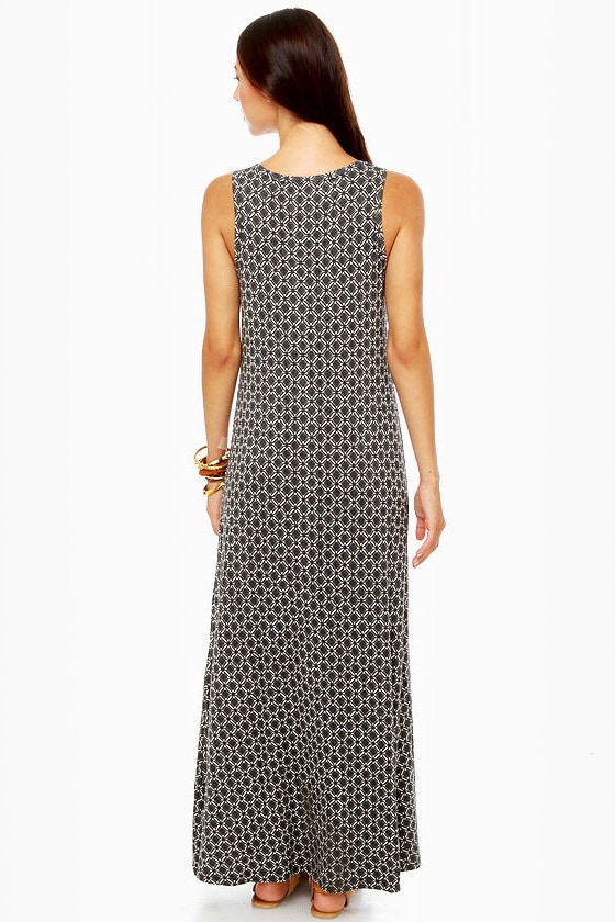 Moroccan and Rollin\\\\\\\' Black Print Maxi Dress