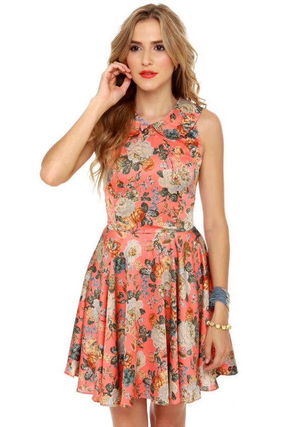 Pretty Floral Dress - Skater Dress - Collared Dress - $60.00
