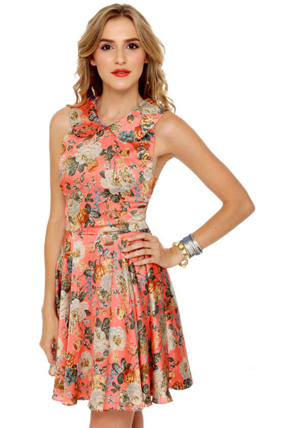 Florid Pro's Coral Floral Print Dress at Lulus.com!