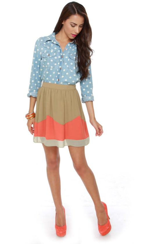 Roll Call Taupe and Coral Mini Skirt at Lulus.com!