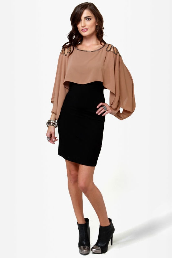 Glammy Awards Beaded Black and Brown Dress at Lulus.com!