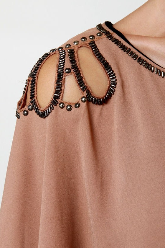 Glammy Awards Beaded Black and Brown Dress