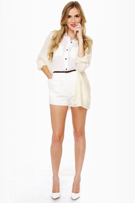 Dainty Dots Studded Ivory Shorts