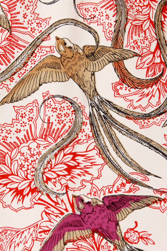 Birds in Paradise Bird Print Midi Skirt
