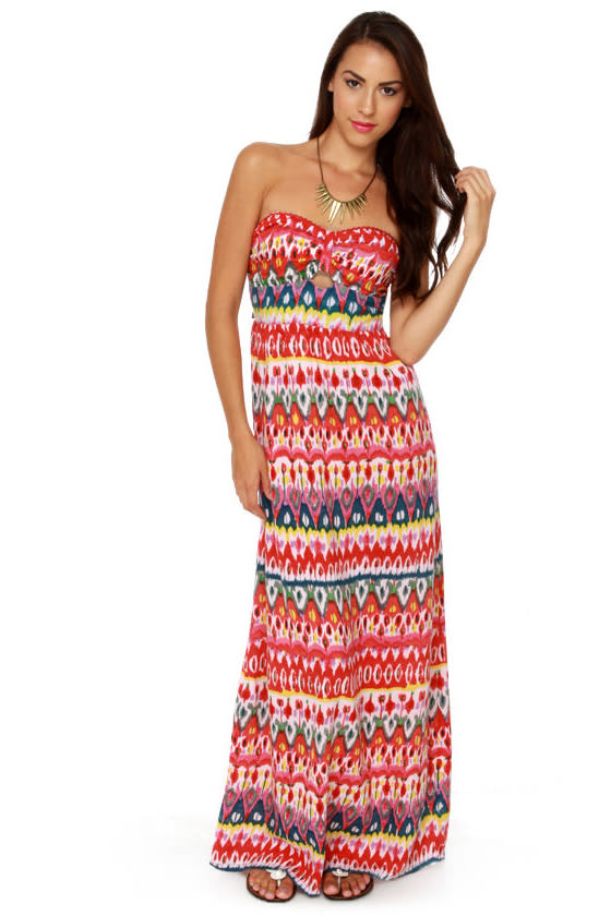 Someday My Prints Strapless Print Maxi Dress