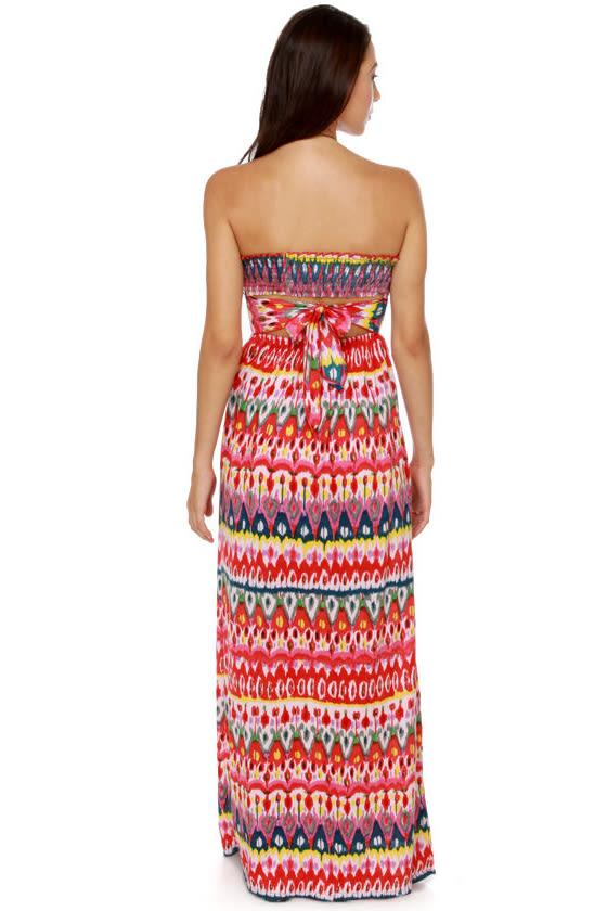 Someday My Prints Strapless Print Maxi Dress