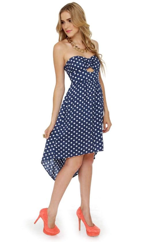 Cute Navy Blue Dress - Polka Dot Dress - Strapless Dress - $50.00