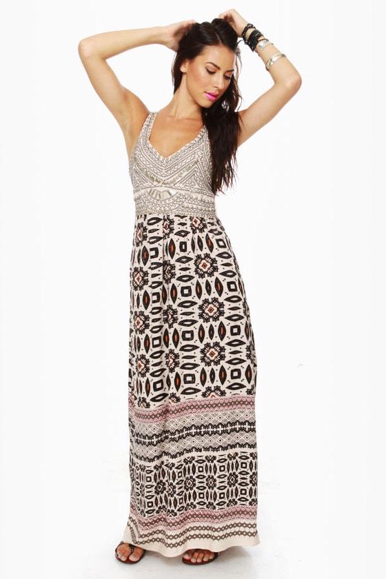 Bodice Goddess Print Maxi Dress