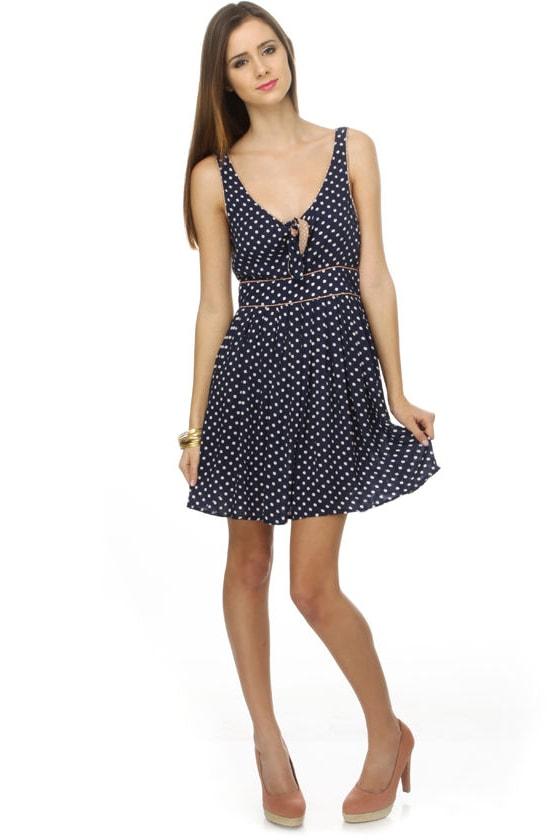 Musicality Navy Blue Polka Dot Dress