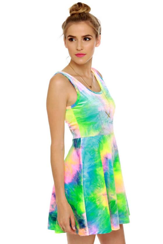 SYM Rainbow Velvet Dress at Lulus.com!