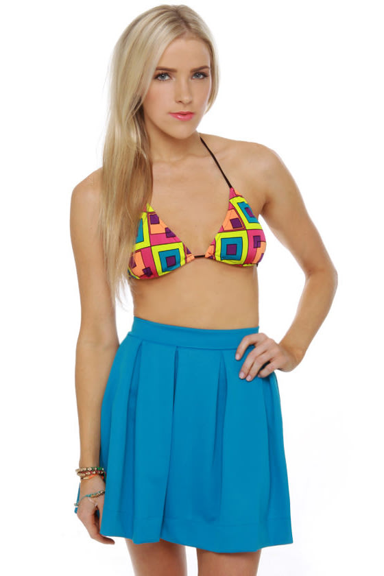 Geo Neo Neon Print String Bikini