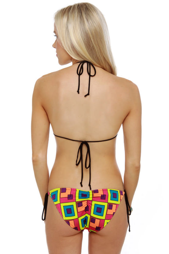 Geo Neo Neon Print String Bikini at Lulus.com!