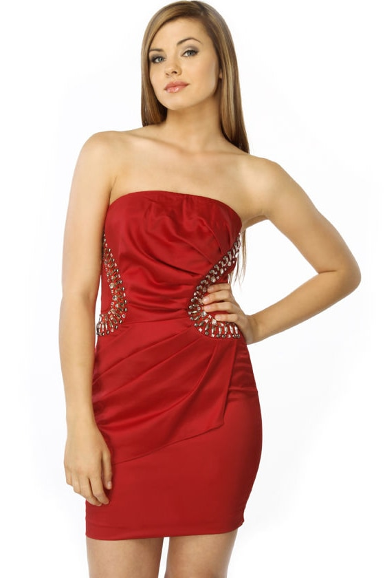 Lights Camera Passion Strapless Red Dress