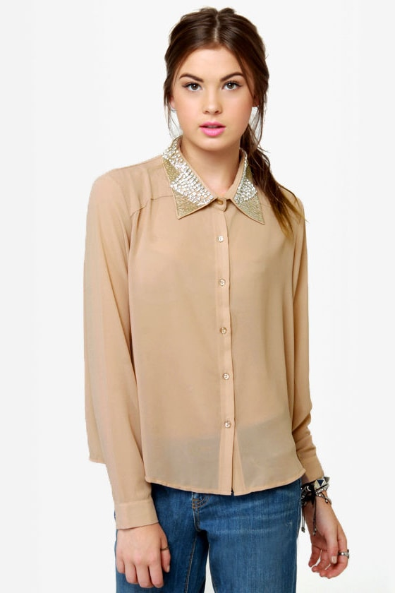 Luxe-y For You Beaded Button-Up Top at Lulus.com!