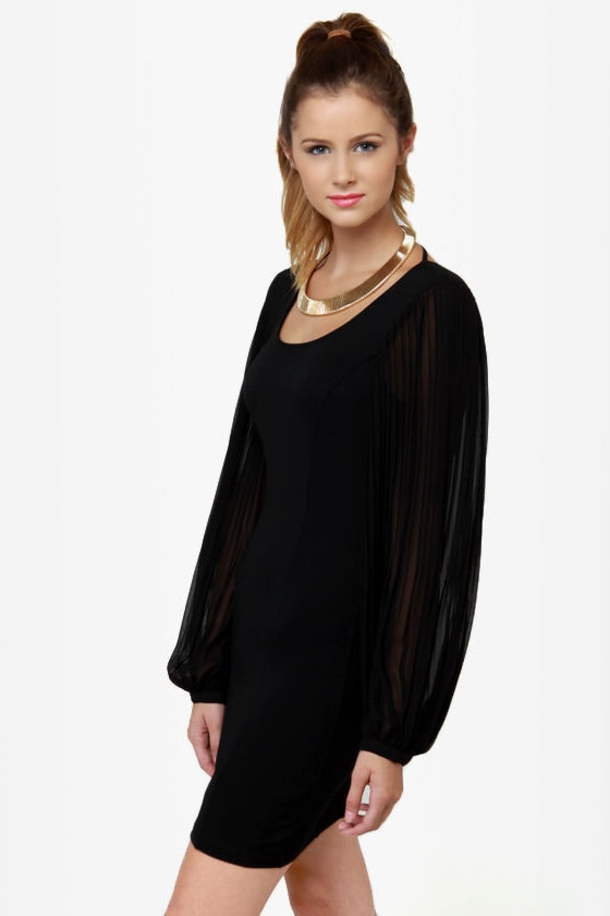 Up My Sleeves Black Dress at Lulus.com!