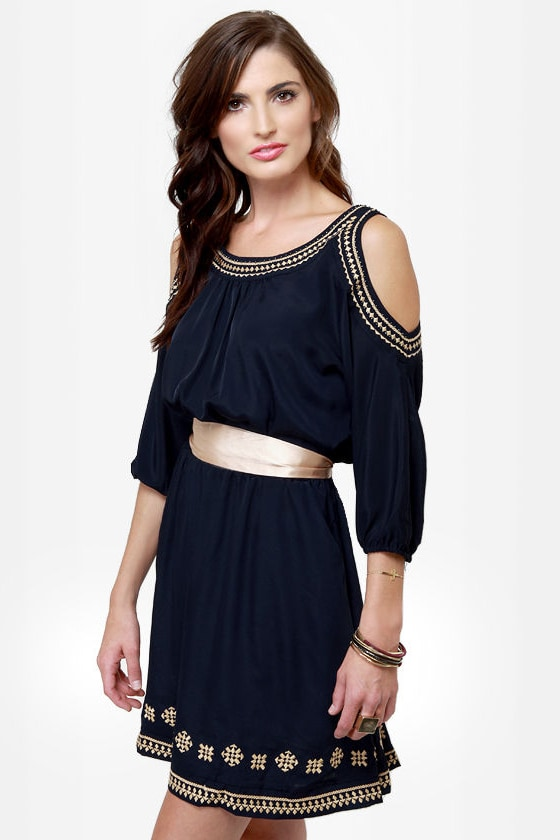 Greek Squad Embroidered Navy Blue Dress at Lulus.com!